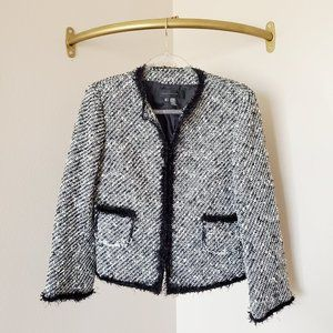 Zara Woman Tweed Blazer Black White 8